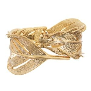 Chloe + Isabel Gold Sculpted Feather Cuff